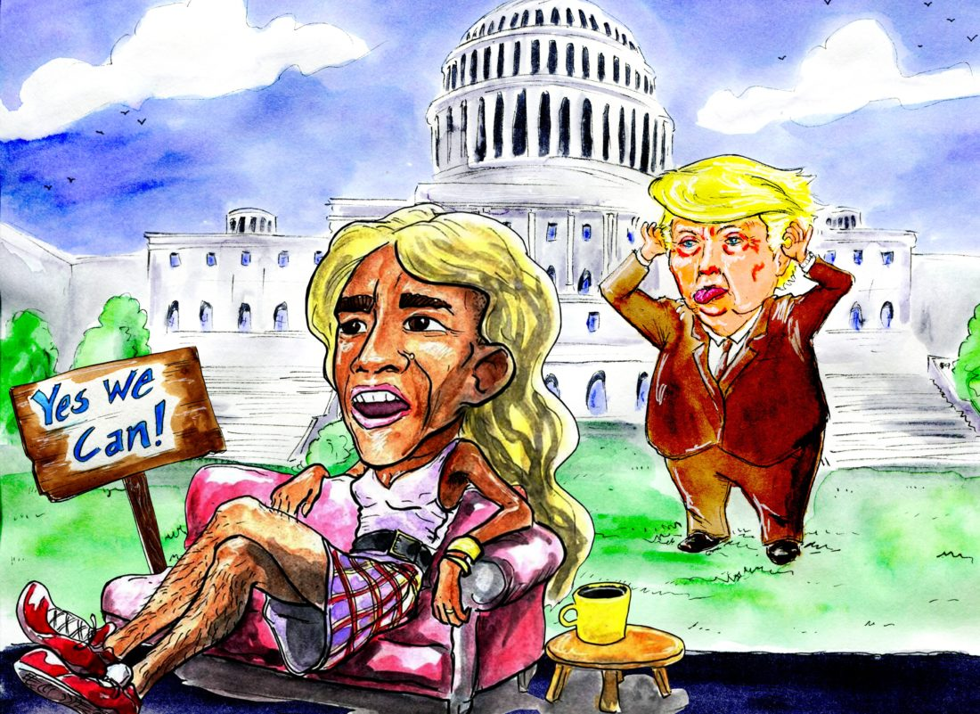"Humor & Satire: Obama in drag - - Cool'n' Sweet Non-Violence ""Revenge"" On Donald Trump"